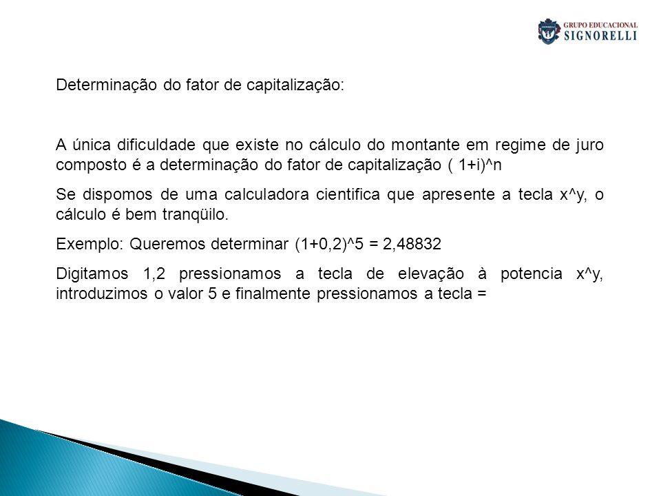 Determinação do fator de capitalização: A única dificuldade que existe no cálculo do montante em regime de juro composto é a determinação do fator de