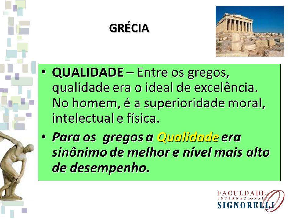 GRÉCIA QUALIDADE – Entre os gregos, qualidade era o ideal de excelência. No homem, é a superioridade moral, intelectual e física. QUALIDADE – Entre os