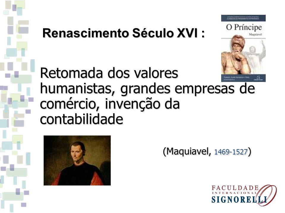Retomada dos valores humanistas, grandes empresas de comércio, invenção da contabilidade (Maquiavel, 1469-1527 ) (Maquiavel, 1469-1527 ) Renascimento