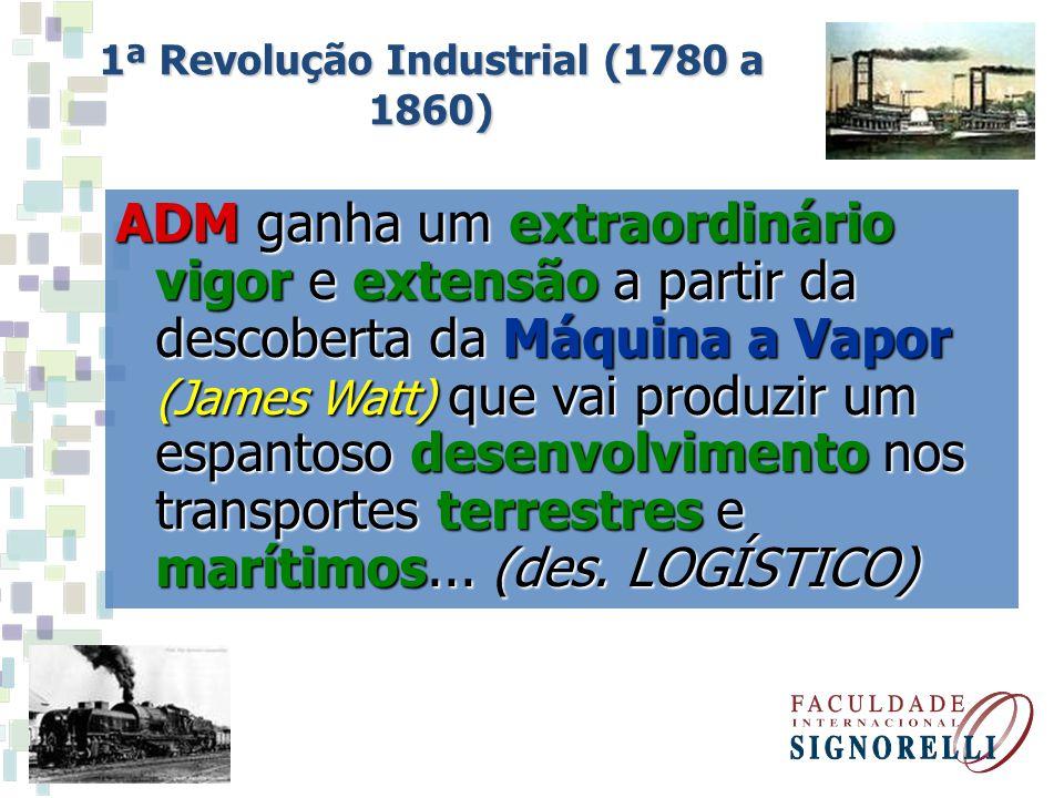 ADM ganha um extraordinário vigor e extensão a partir da descoberta da Máquina a Vapor (James Watt) que vai produzir um espantoso desenvolvimento nos