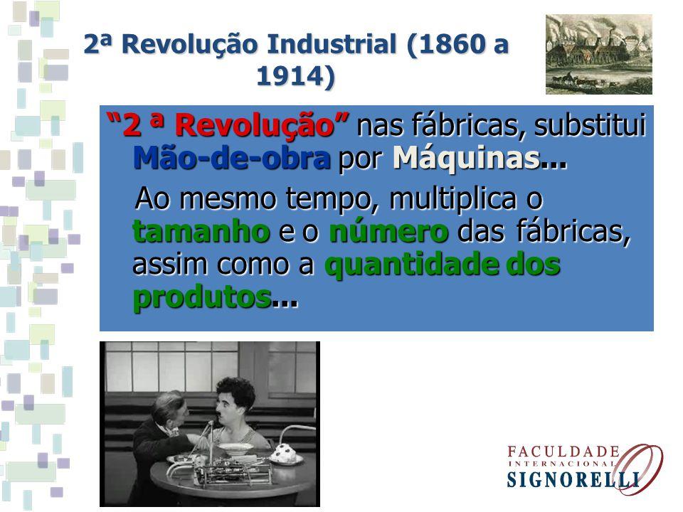 2 ª Revolução nas fábricas, substitui Mão-de-obra por Máquinas... Ao mesmo tempo, multiplica o tamanho e o número das fábricas, assim como a quantidad
