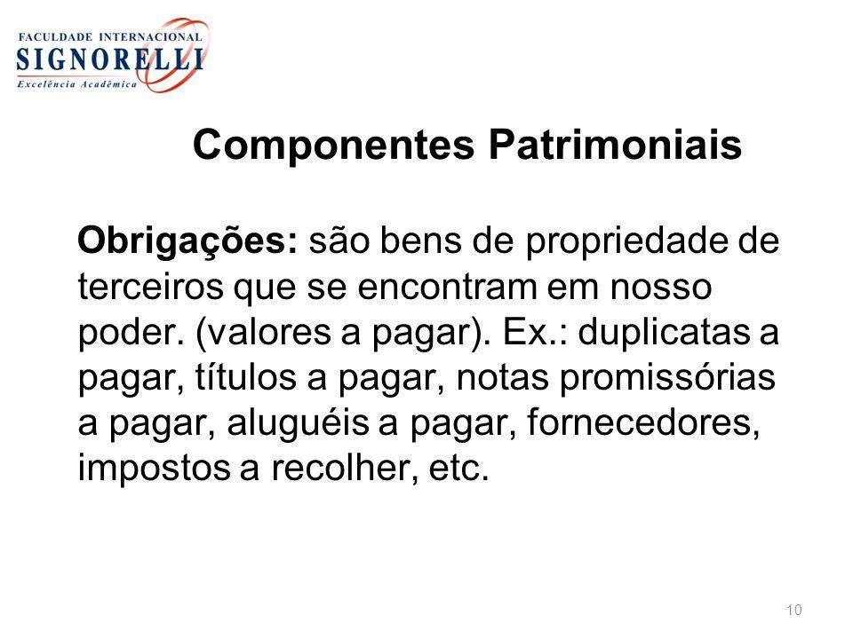 Componentes Patrimoniais Obrigações: são bens de propriedade de terceiros que se encontram em nosso poder. (valores a pagar). Ex.: duplicatas a pagar,