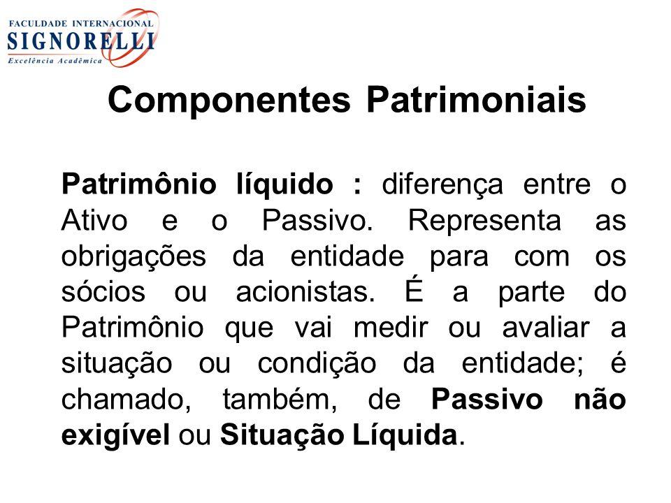 Componentes Patrimoniais Patrimônio líquido : diferença entre o Ativo e o Passivo. Representa as obrigações da entidade para com os sócios ou acionist