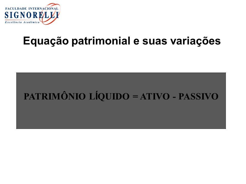 Equação patrimonial e suas variações PATRIMÔNIO L Í QUIDO = ATIVO - PASSIVO