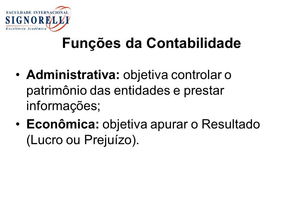 Funções da Contabilidade Administrativa: objetiva controlar o patrimônio das entidades e prestar informações; Econômica: objetiva apurar o Resultado (
