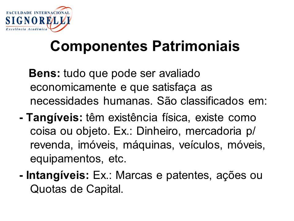 Componentes Patrimoniais Bens: tudo que pode ser avaliado economicamente e que satisfaça as necessidades humanas. São classificados em: - Tangíveis: t