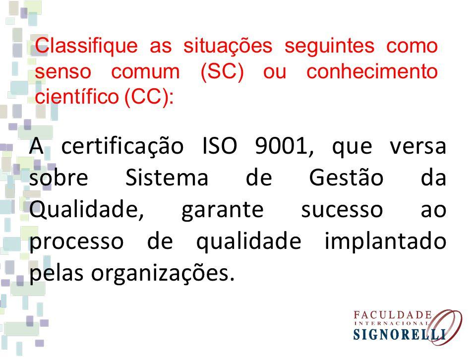 A certificação ISO 9001, que versa sobre Sistema de Gestão da Qualidade, garante sucesso ao processo de qualidade implantado pelas organizações.