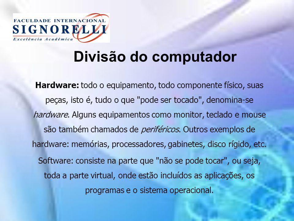 Divisão do computador Hardware: todo o equipamento, todo componente físico, suas peças, isto é, tudo o que