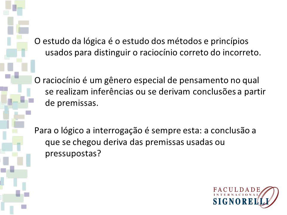 O estudo da lógica é o estudo dos métodos e princípios usados para distinguir o raciocínio correto do incorreto. O raciocínio é um gênero especial de