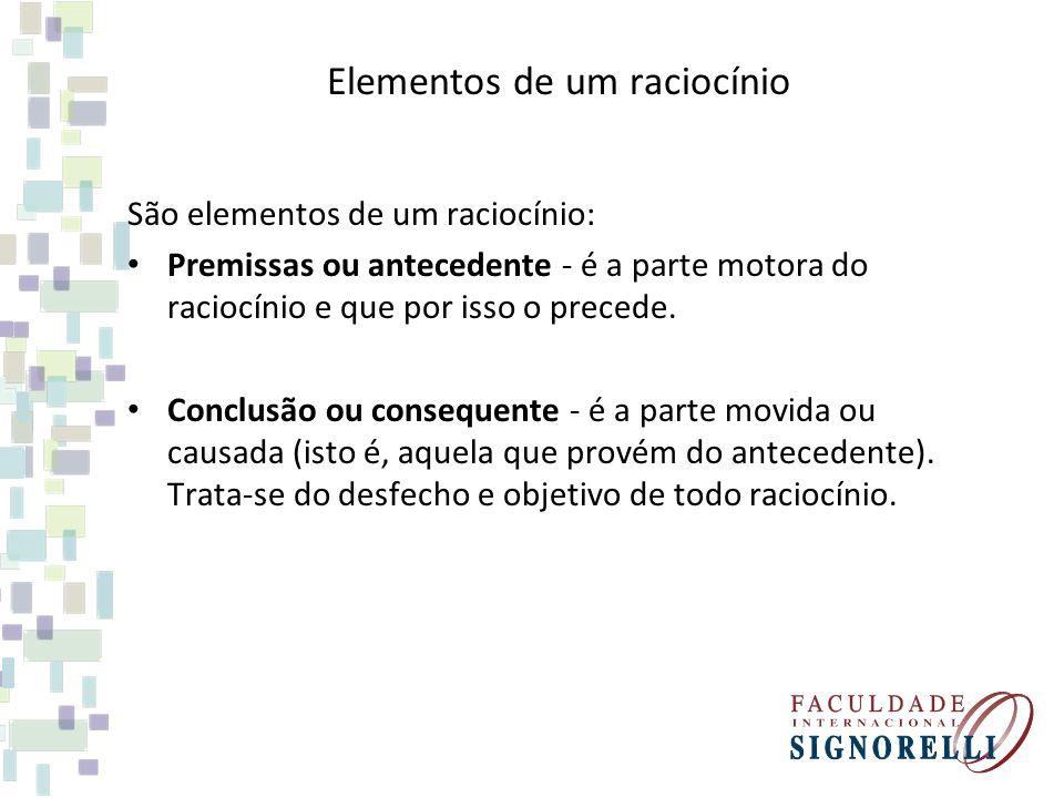 Elementos de um raciocínio São elementos de um raciocínio: Premissas ou antecedente - é a parte motora do raciocínio e que por isso o precede. Conclus