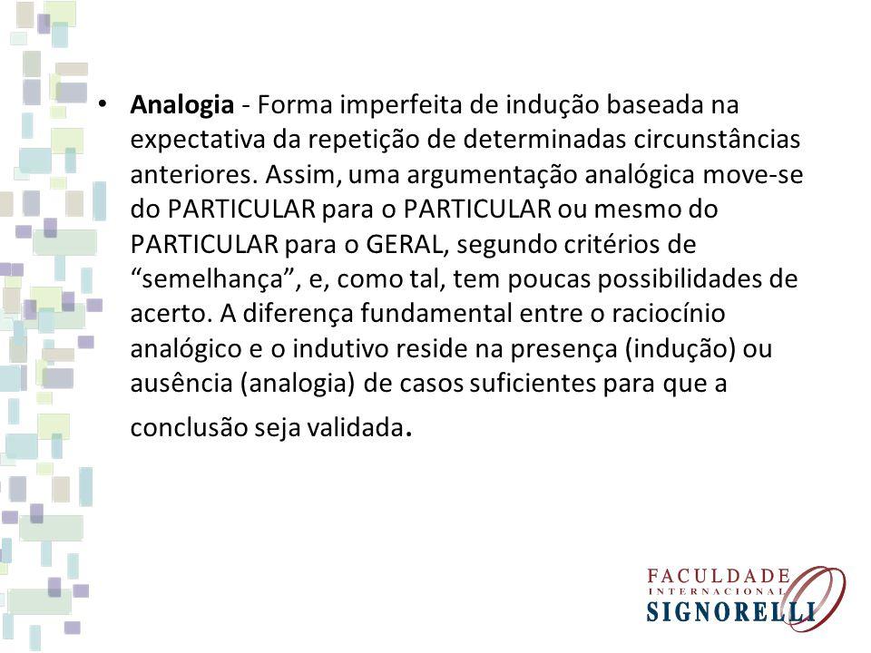Analogia - Forma imperfeita de indução baseada na expectativa da repetição de determinadas circunstâncias anteriores. Assim, uma argumentação analógic