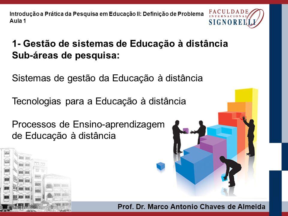 Prof. Dr. Marco Antonio Chaves de Almeida Introdução a Prática da Pesquisa em Educação II: Definição de Problema Aula 1 1- Gestão de sistemas de Educa
