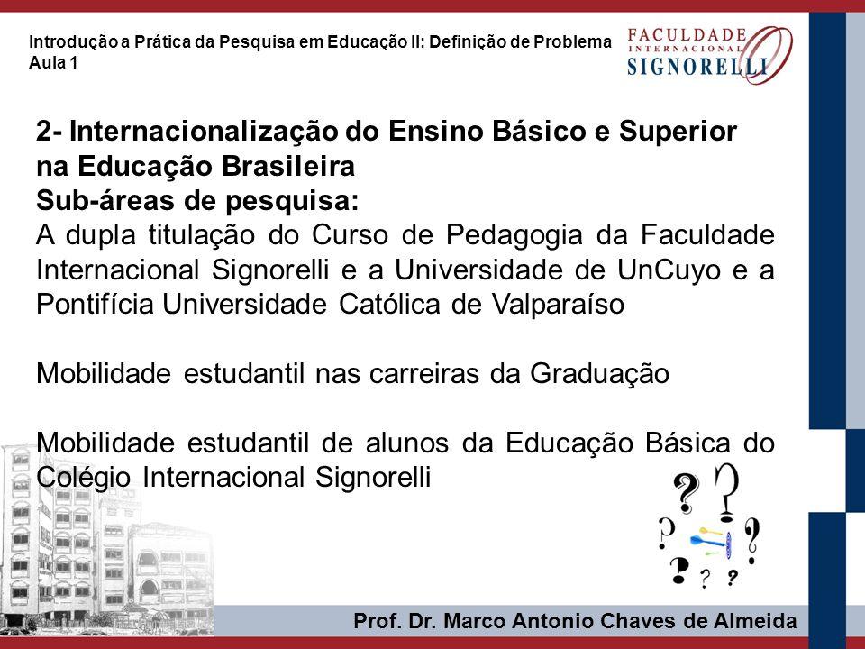 Prof. Dr. Marco Antonio Chaves de Almeida Introdução a Prática da Pesquisa em Educação II: Definição de Problema Aula 1 2- Internacionalização do Ensi