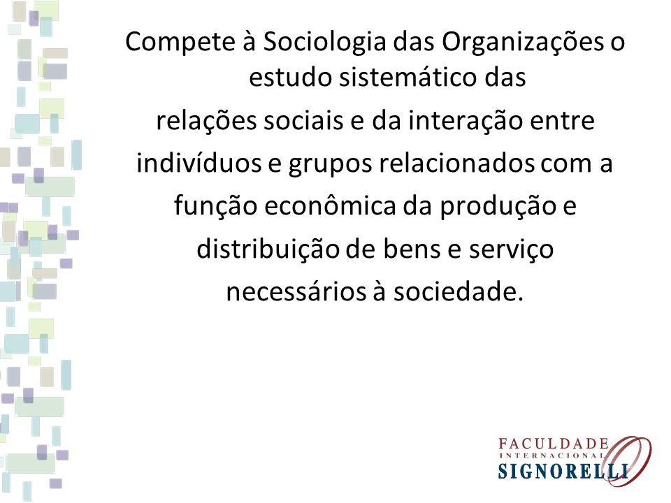 Compete à Sociologia das Organizações o estudo sistemático das relações sociais e da interação entre indivíduos e grupos relacionados com a função eco