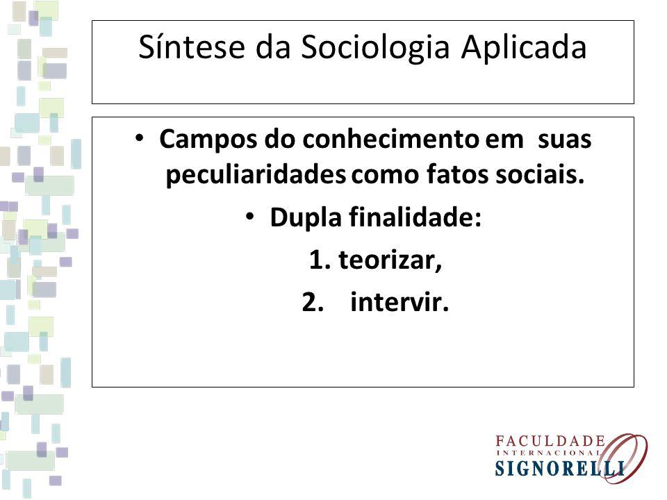 Síntese da Sociologia Aplicada Campos do conhecimento em suas peculiaridades como fatos sociais. Dupla finalidade: 1. teorizar, 2. intervir.