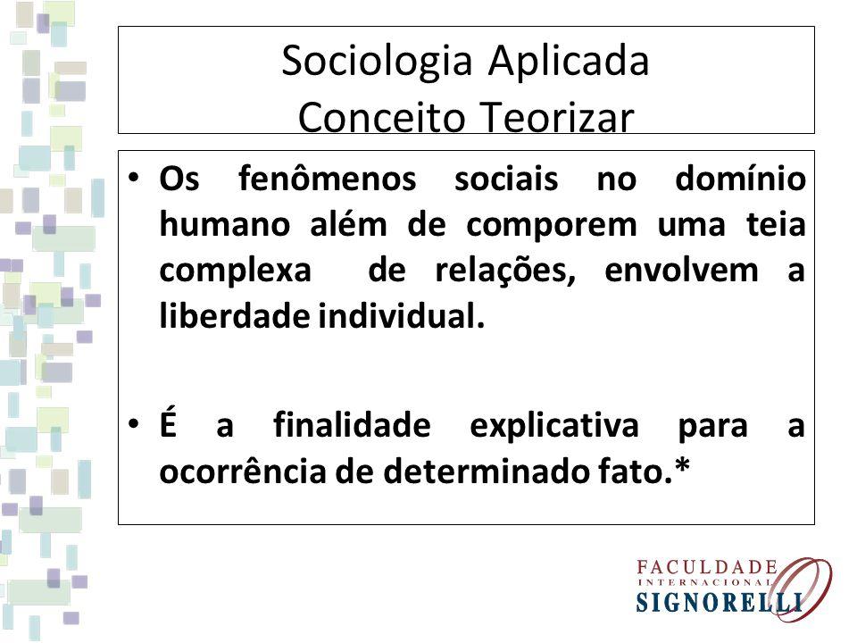 Sociologia Aplicada Conceito Teorizar Os fenômenos sociais no domínio humano além de comporem uma teia complexa de relações, envolvem a liberdade indi
