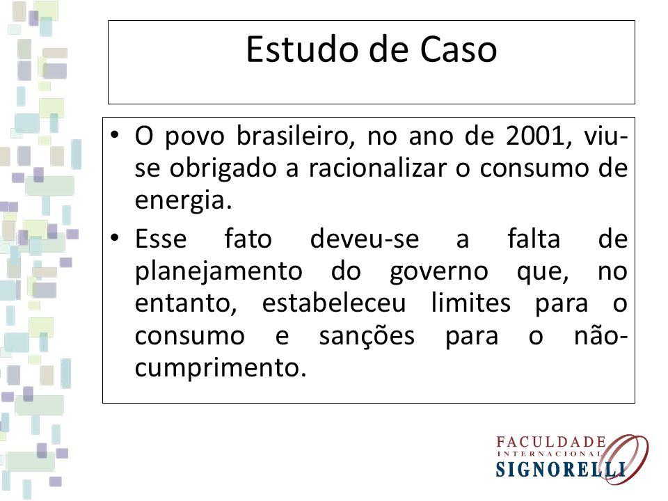 Estudo de Caso O povo brasileiro, no ano de 2001, viu- se obrigado a racionalizar o consumo de energia. Esse fato deveu-se a falta de planejamento do