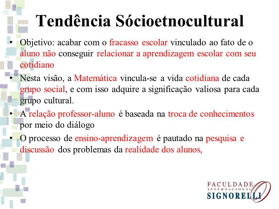 Tendência Sócioetnocultural Objetivo: acabar com o fracasso escolar vinculado ao fato de o aluno não conseguir relacionar a aprendizagem escolar com s