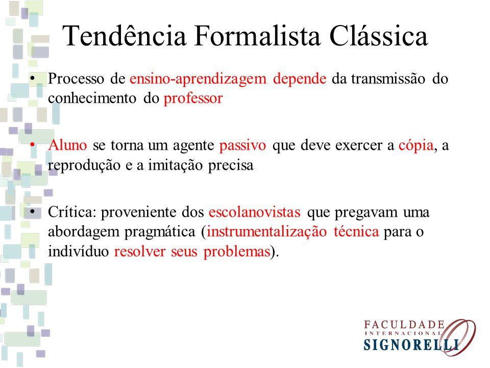 Tendência Formalista Clássica Processo de ensino-aprendizagem depende da transmissão do conhecimento do professor Aluno se torna um agente passivo que