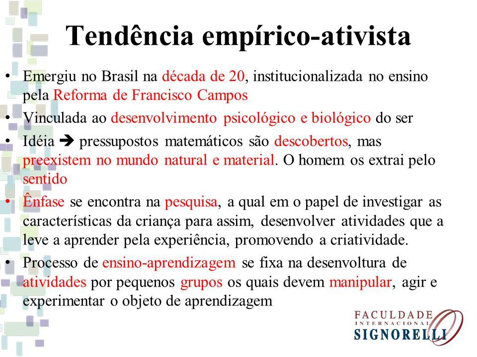 Tendência empírico-ativista O professor atua como orientador das atividades Aluno é o centro desta tendência com participação ativa.