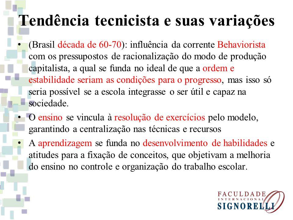 Tendência tecnicista e suas variações (Brasil década de 60-70): influência da corrente Behaviorista com os pressupostos de racionalização do modo de p