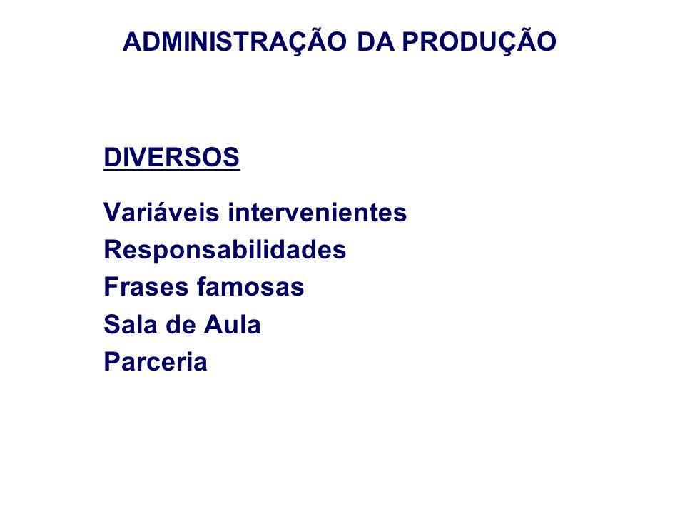 DIVERSOS Variáveis intervenientes Responsabilidades Frases famosas Sala de Aula Parceria ADMINISTRAÇÃO DA PRODUÇÃO