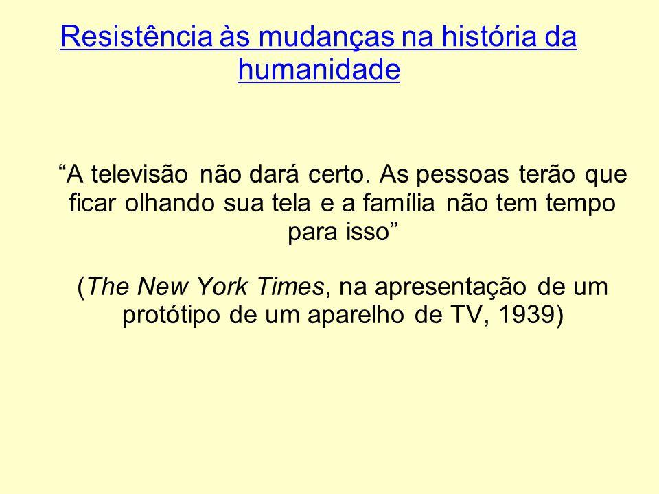 Resistência às mudanças na história da humanidade A televisão não dará certo. As pessoas terão que ficar olhando sua tela e a família não tem tempo pa