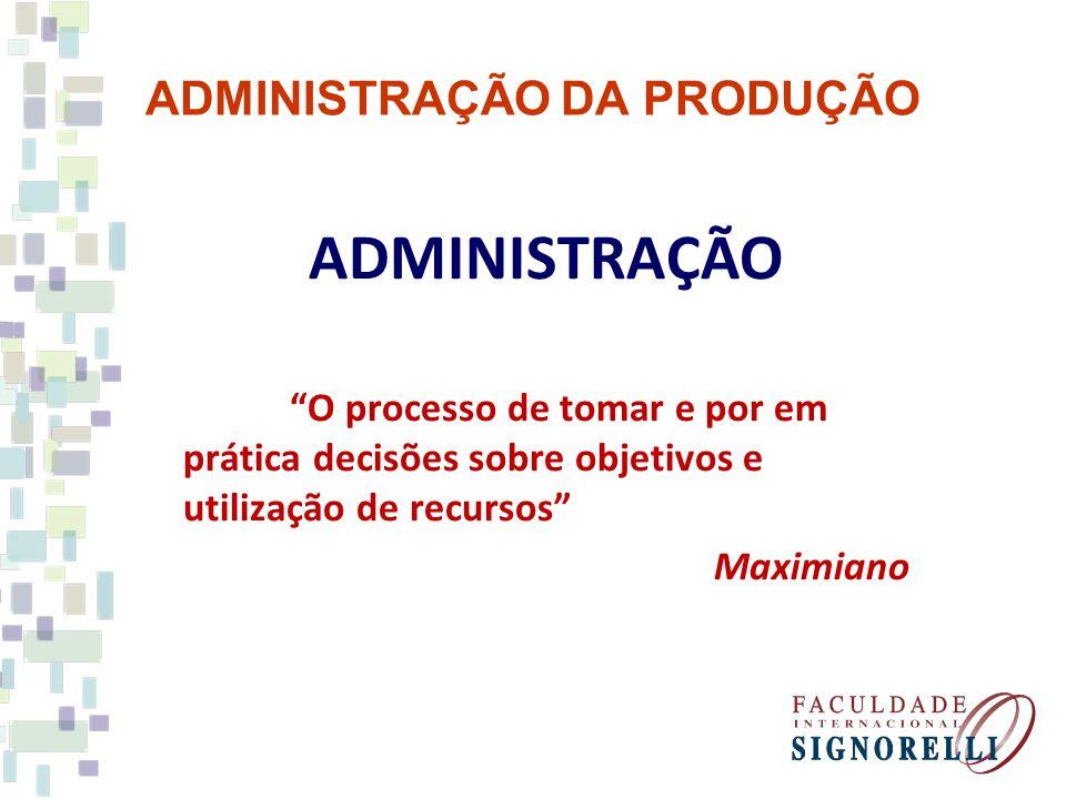 ADMINISTRAÇÃO DA PRODUÇÃO ADMINISTRAÇÃO O processo de tomar e por em prática decisões sobre objetivos e utilização de recursos Maximiano