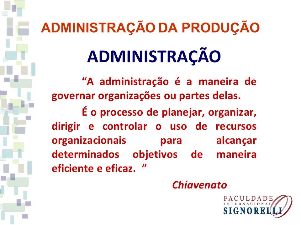 ADMINISTRAÇÃO DA PRODUÇÃO ADMINISTRAÇÃO A administração é a maneira de governar organizações ou partes delas. É o processo de planejar, organizar, dir