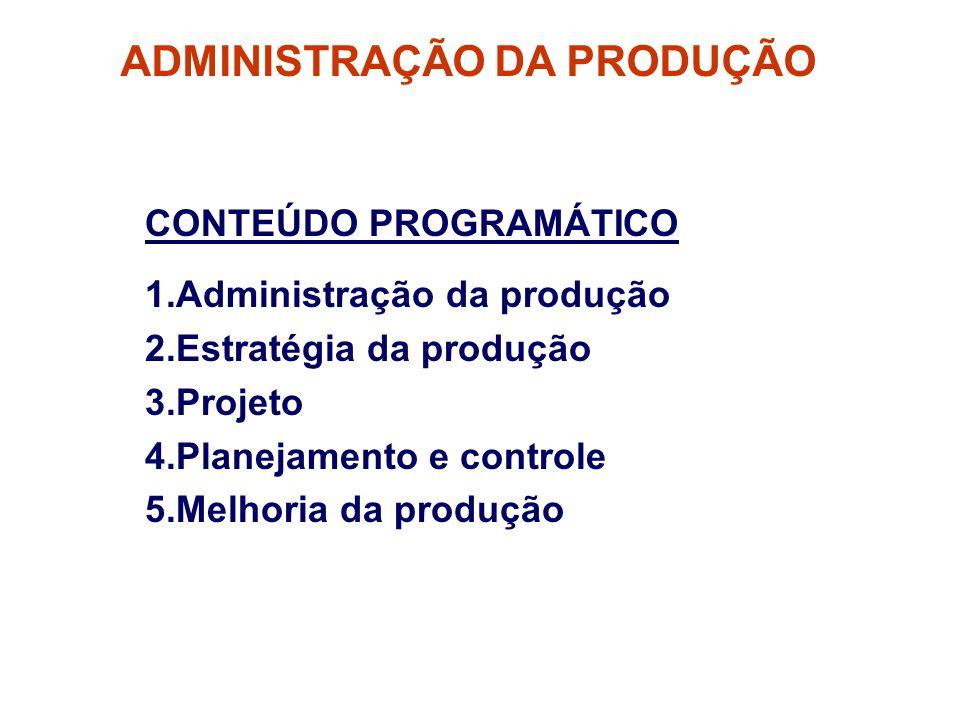 ADMINISTRAÇÃO DA PRODUÇÃO CONTEÚDO PROGRAMÁTICO 1.Administração da produção 2.Estratégia da produção 3.Projeto 4.Planejamento e controle 5.Melhoria da