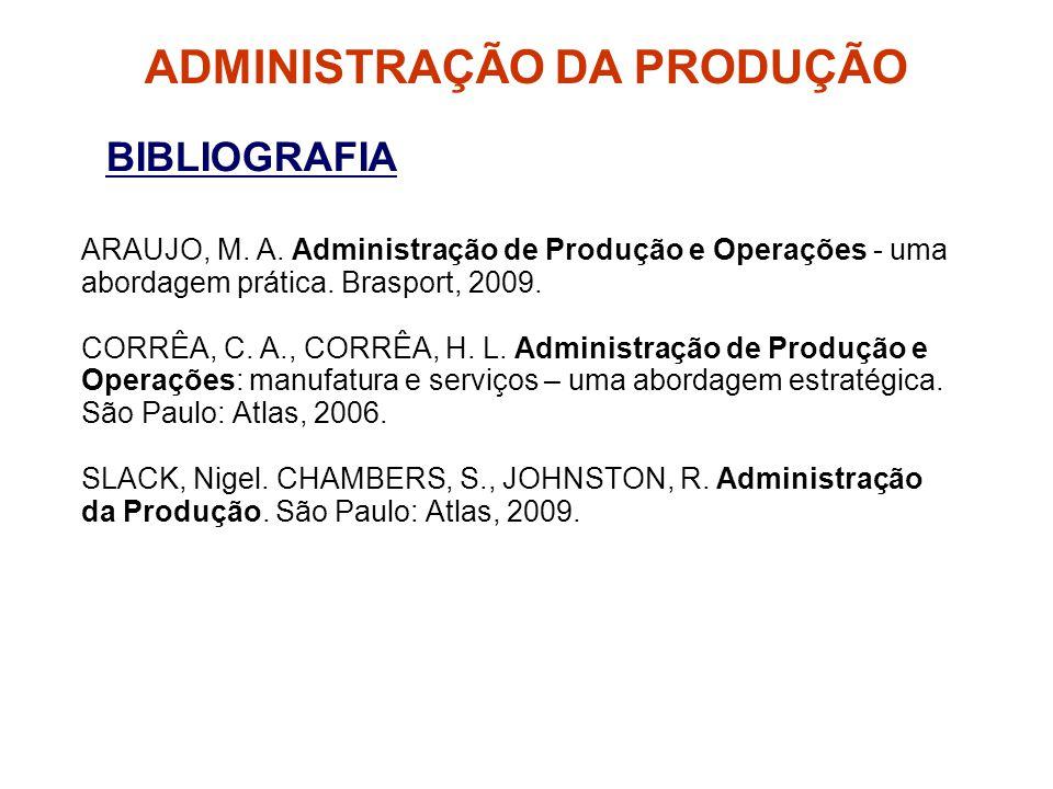 BIBLIOGRAFIA ARAUJO, M. A. Administração de Produção e Operações - uma abordagem prática. Brasport, 2009. CORRÊA, C. A., CORRÊA, H. L. Administração d