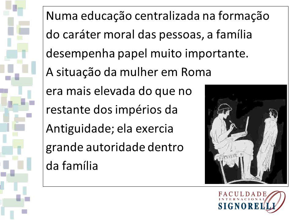 Numa educação centralizada na formação do caráter moral das pessoas, a família desempenha papel muito importante. A situação da mulher em Roma era mai