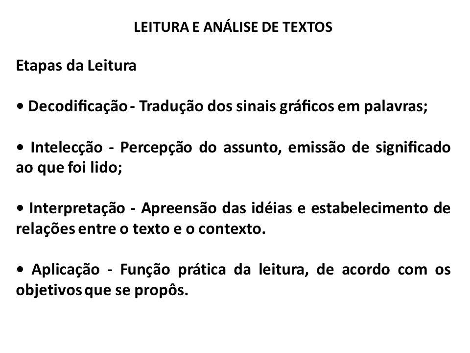 LEITURA E ANÁLISE DE TEXTOS Etapas da Leitura Decodicação - Tradução dos sinais grácos em palavras; Intelecção - Percepção do assunto, emissão de sign
