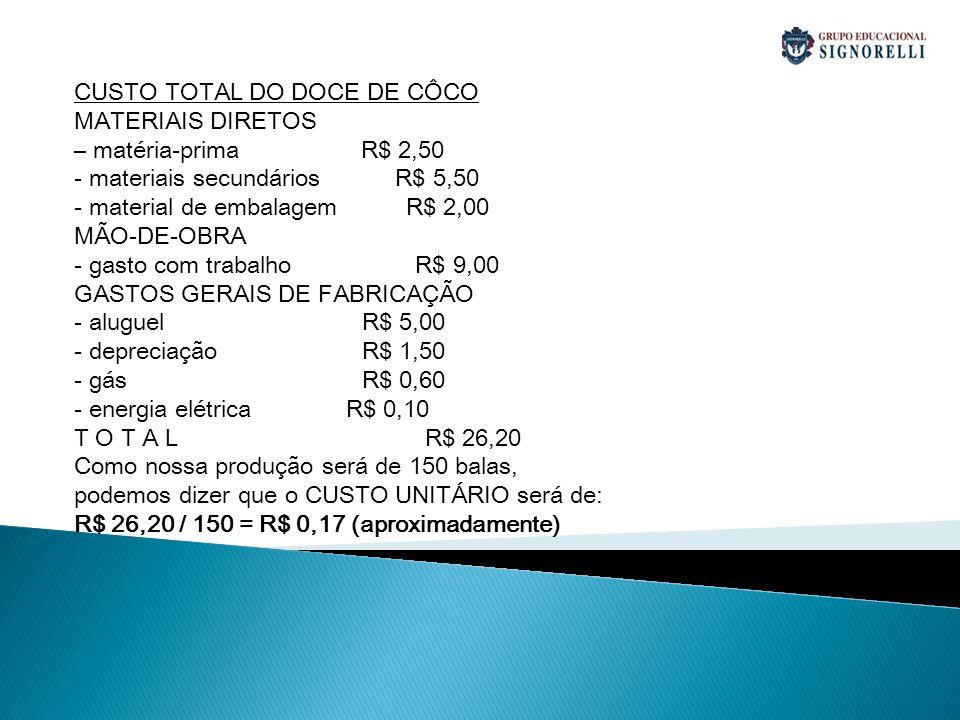 CUSTO TOTAL DO DOCE DE CÔCO MATERIAIS DIRETOS – matéria-prima R$ 2,50 - materiais secundários R$ 5,50 - material de embalagem R$ 2,00 MÃO-DE-OBRA - ga
