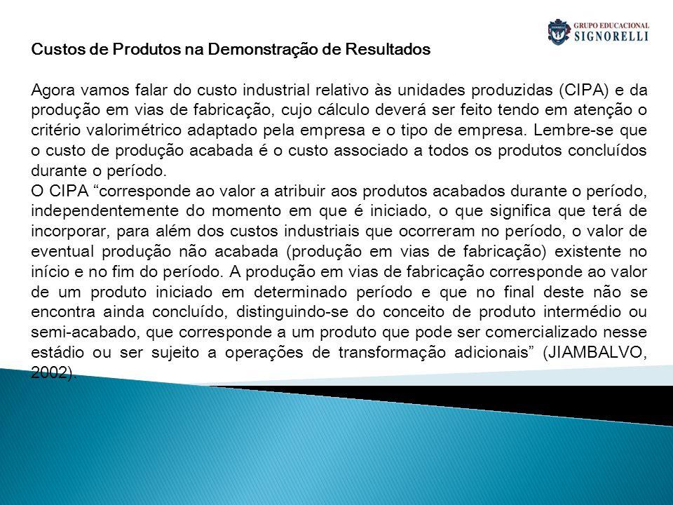 Custos de Produtos na Demonstração de Resultados Agora vamos falar do custo industrial relativo às unidades produzidas (CIPA) e da produção em vias de