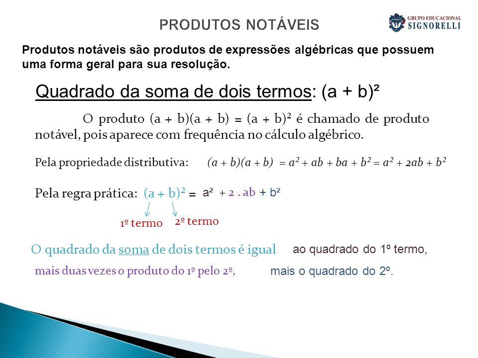 PRODUTOS NOTÁVEIS Quadrado da soma de dois termos: (a + b)² O produto (a + b)(a + b) = (a + b)² é chamado de produto notável, pois aparece com frequên