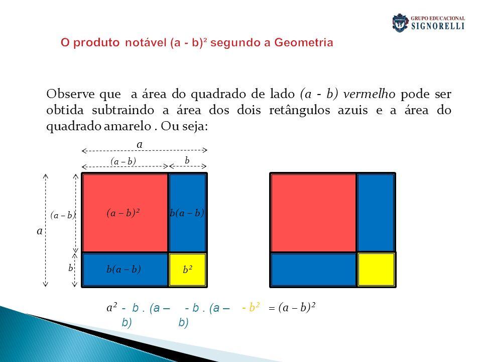 O produto notável (a - b)² segundo a Geometria Observe que a área do quadrado de lado (a - b) vermelho pode ser obtida subtraindo a área dos dois retâ