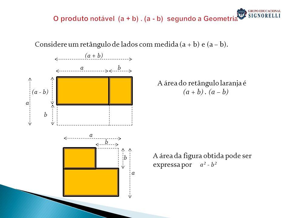 O produto notável (a + b). (a - b) segundo a Geometria Considere um retângulo de lados com medida (a + b) e (a – b). A área do retângulo laranja é (a