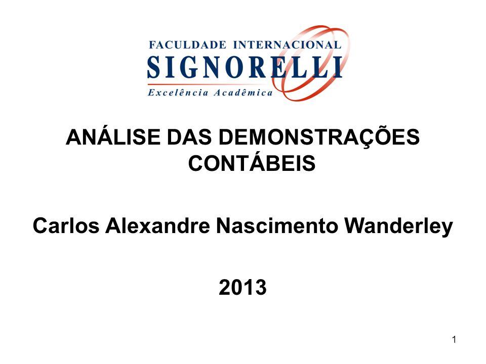 ANÁLISE DAS DEMONSTRAÇÕES CONTÁBEIS Carlos Alexandre Nascimento Wanderley 2013 1