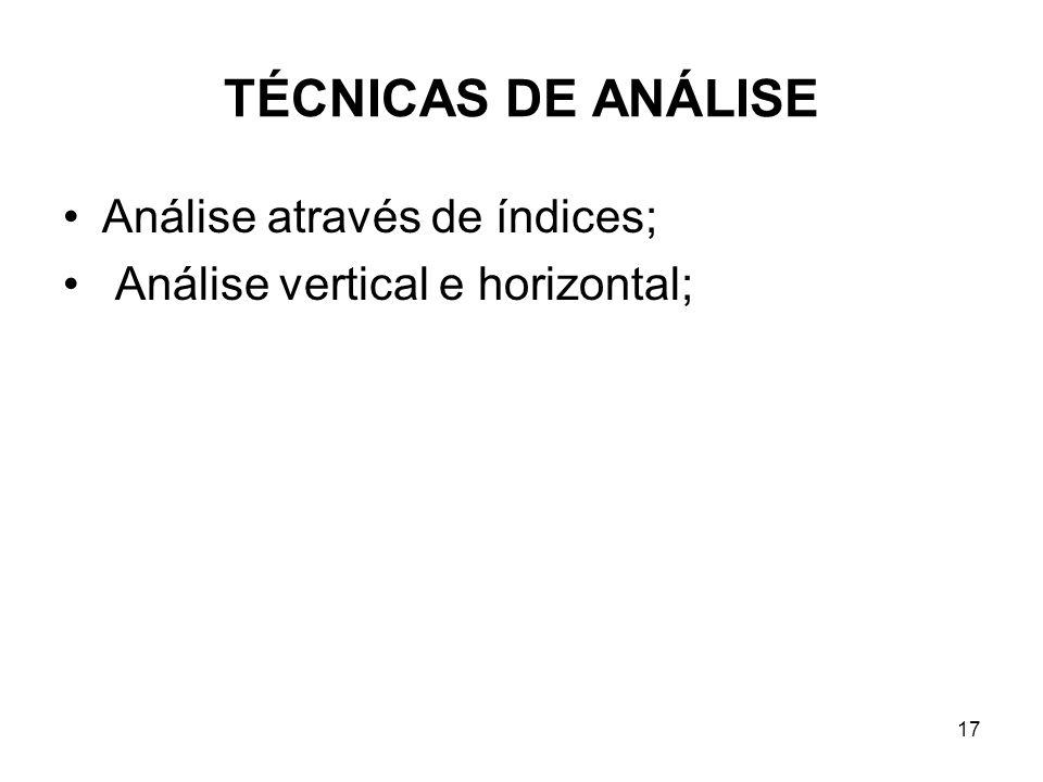 TÉCNICAS DE ANÁLISE Análise através de índices; Análise vertical e horizontal; 17