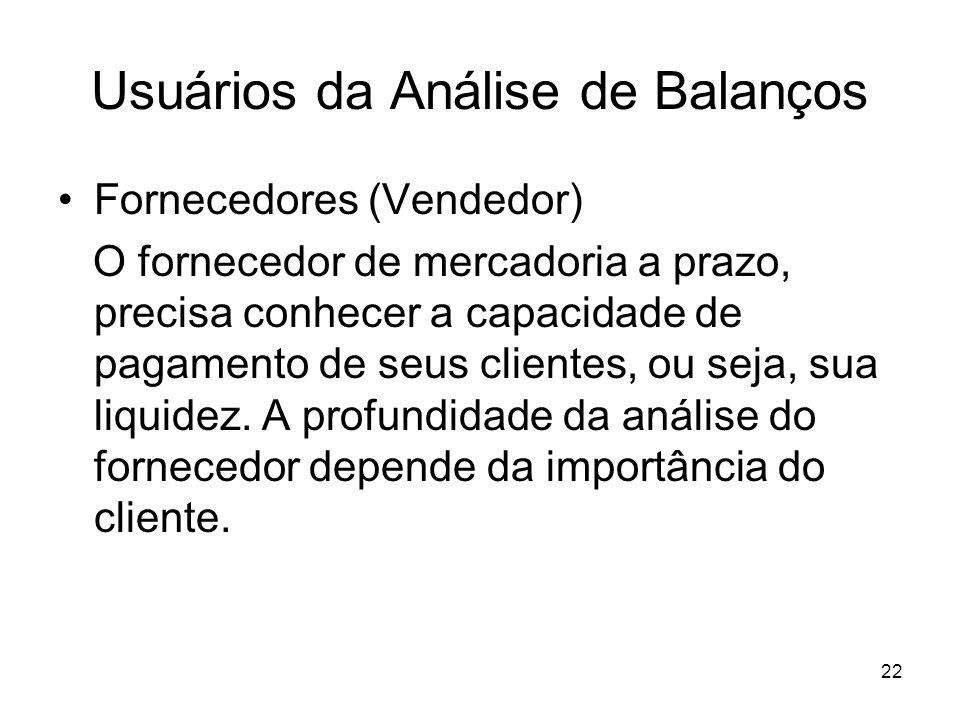 Usuários da Análise de Balanços Fornecedores (Vendedor) O fornecedor de mercadoria a prazo, precisa conhecer a capacidade de pagamento de seus clientes, ou seja, sua liquidez.