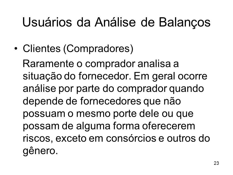 Usuários da Análise de Balanços Clientes (Compradores) Raramente o comprador analisa a situação do fornecedor. Em geral ocorre análise por parte do co