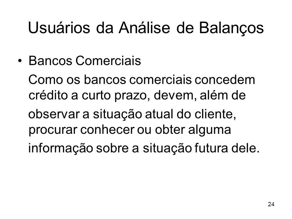 Usuários da Análise de Balanços Bancos Comerciais Como os bancos comerciais concedem crédito a curto prazo, devem, além de observar a situação atual d