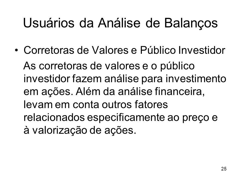 Usuários da Análise de Balanços Corretoras de Valores e Público Investidor As corretoras de valores e o público investidor fazem análise para investimento em ações.