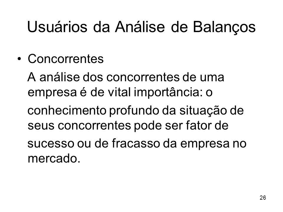 Usuários da Análise de Balanços Concorrentes A análise dos concorrentes de uma empresa é de vital importância: o conhecimento profundo da situação de seus concorrentes pode ser fator de sucesso ou de fracasso da empresa no mercado.