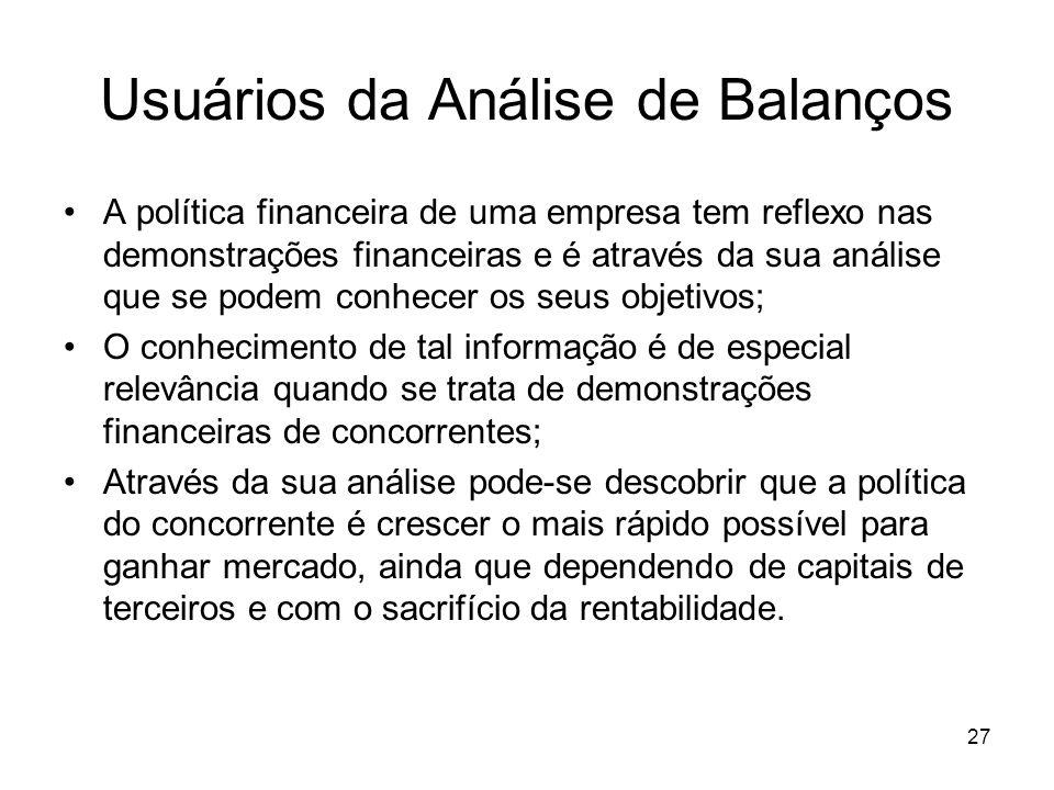 Usuários da Análise de Balanços A política financeira de uma empresa tem reflexo nas demonstrações financeiras e é através da sua análise que se podem