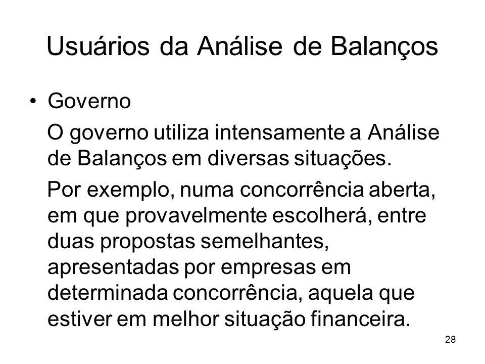 Usuários da Análise de Balanços Governo O governo utiliza intensamente a Análise de Balanços em diversas situações. Por exemplo, numa concorrência abe