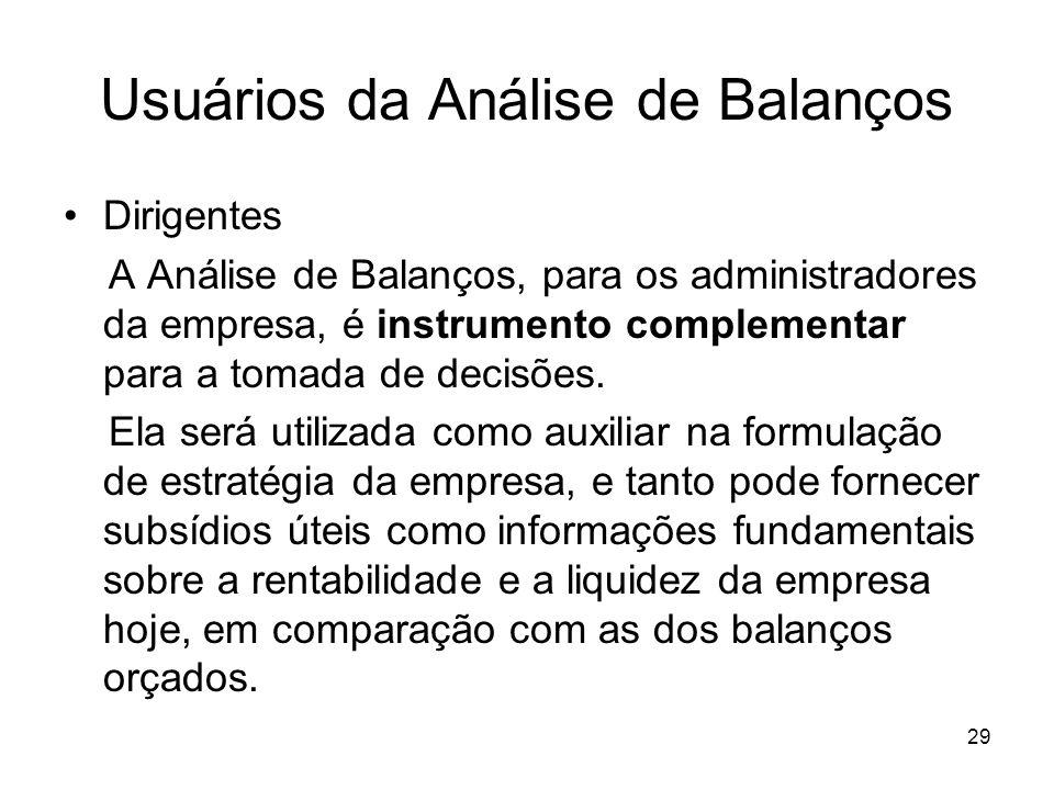 Usuários da Análise de Balanços Dirigentes A Análise de Balanços, para os administradores da empresa, é instrumento complementar para a tomada de decisões.