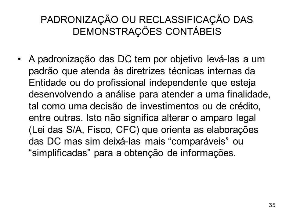 PADRONIZAÇÃO OU RECLASSIFICAÇÃO DAS DEMONSTRAÇÕES CONTÁBEIS A padronização das DC tem por objetivo levá-las a um padrão que atenda às diretrizes técni