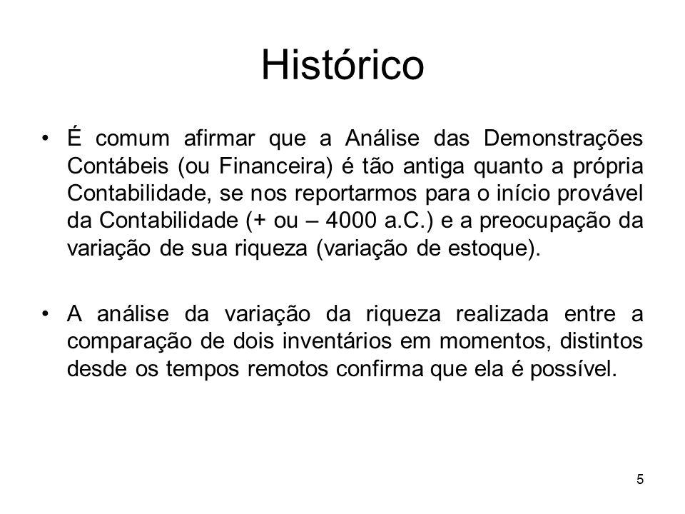 Histórico É comum afirmar que a Análise das Demonstrações Contábeis (ou Financeira) é tão antiga quanto a própria Contabilidade, se nos reportarmos pa
